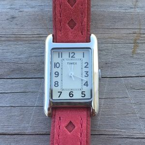 Timex Woman's Watch Genuine Red Leather band